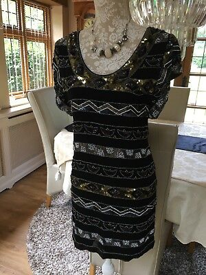 French Connection Fcuk Peaky Blinders Black Gold Beaded Sequin Shift Dress 8 36