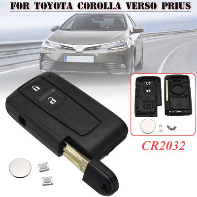 2 Button Remote Key Fob Case Shell + Battery for Toyota Corolla Verso Prius Cool