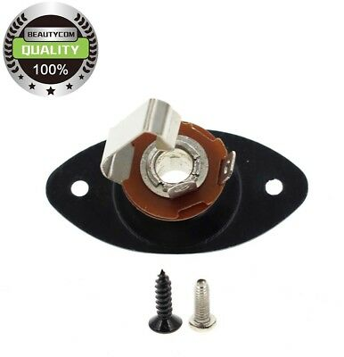 Black Input Output Jack and Plate Oval for Electric Guitar Telecaster Les Paul