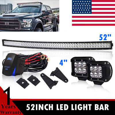 Offroad 700W 52inch LED Light Bar Curved Flood Spot Combo Truck Roof Driving SUV