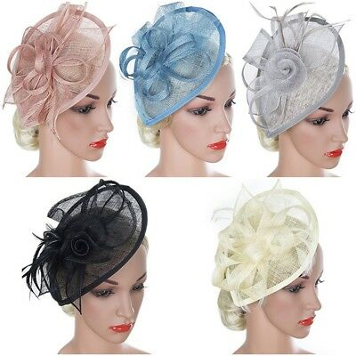 Ladies Feather Headband Clip Hat Wedding Ascot Race Prom Formal Hair Fascinator