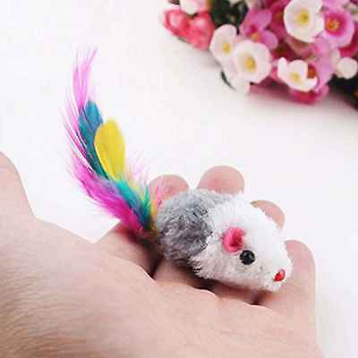 5pcs Colorful Feather Plush Mini Mouse Kitten Toys False Rat Pet Cat Playing Toy