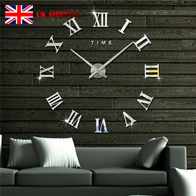DIY 3D Wall Clock Roman Numeral Metallic Mirror Stick On Clock Home Decor Xmas