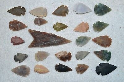 "24 PC Flint Arrowhead Ohio Collection Points 1-3"" Spear Bow Stone Hunting 2535"