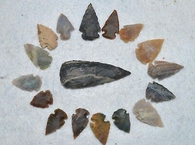 "17 PC Flint Arrowhead Ohio Collection Points 1-3"" Spear Bow Stone Hunting 2532"