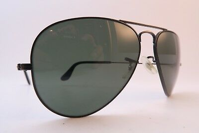 2d435b51aa Vintage B L Ray Ban sunglasses black aviator size 58-14 etched lens USA