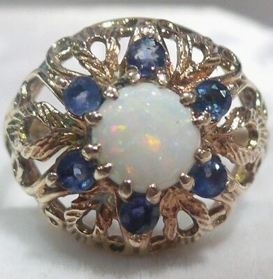 Large Heavy 3.87G Solid 9Ct Gold Tanzanite Fiery Opal English Vintage Ring Hm~M