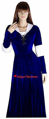 SECOND Medieval Peasant Maid Wench Blue Fancy Dress Gown Costume 10 12 14 16 18