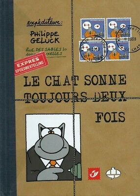 Rare Eo N° Signé Tirage 7 Timbres Philippe Geluck  Le Chat Sonne Toujours 2 Fois