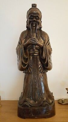 Very rare 36'' antique chinese wooden carving of Confucius