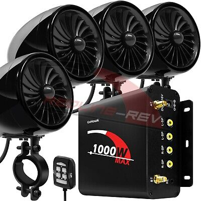 1000W Amp Motorcycle Waterproof Bluetooth Stereo 4-Speakers Audio MP3 System ATV