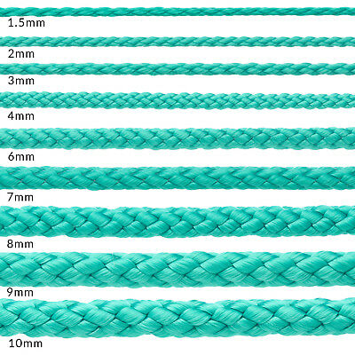 Green Polypropylene Rope Braided Poly Cord Strong String Camping Sailing Yacht