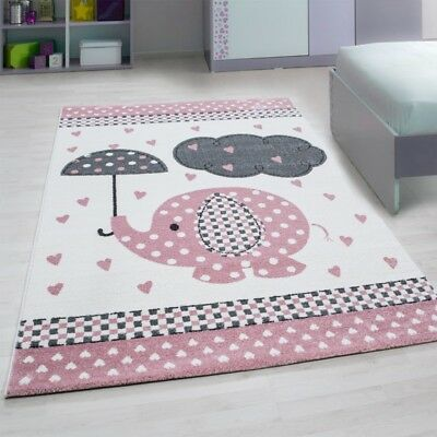 Animal Rug Elephant Nursery White Grey
