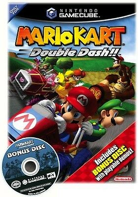 NINTENDO GAMECUBE MARIO KART DOUBLE DASH VIDEO GAME w/BONUS DISC $3.95 SHIPPING