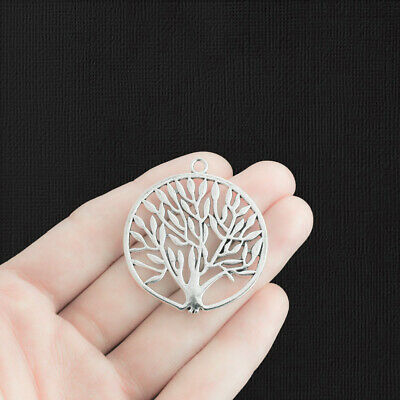 SC369 8 Tree of Life Charms Antique Silver Tone 2 Sided Family Tree Pendant