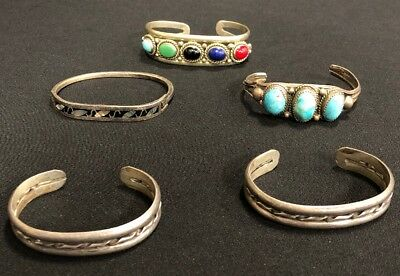 Vintage Sterling Silver Cuff Bracelets~Lot Of 5~98.3g Total Weight