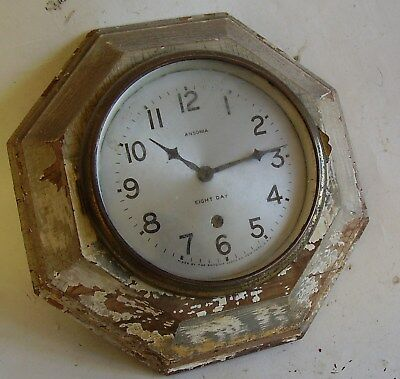 Antique Ansonia Wooden Wall Clock, Kitchen Clock ?? Works Ok, Used Cond.no Res