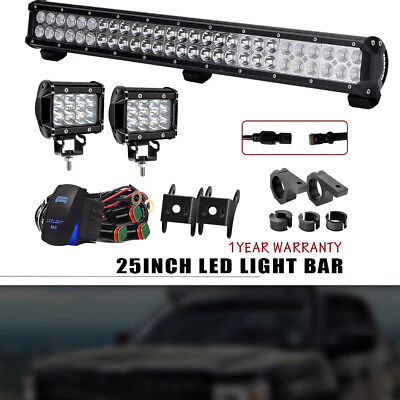 Cree 25inch 162W LED Work Light Bar Spot Flood Offroad+Pair 36W Pods For ATV SUV