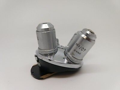 Leitz Microscope 4 turret nose piece with 4 objectives