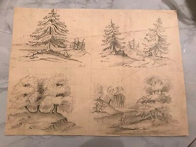 Vintage Drawing Sketch Of 4 Trees Mystery Artist ?