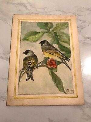 Vintage Watercolor Of Two Black & Yellow Birds Signed W. Beck