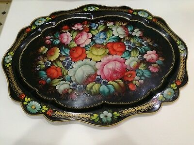 Zhostovo Russian Vintage Hand Painted Flowers Black Enamel Metal Tray Signed