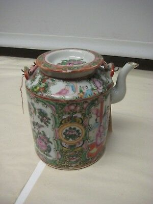 Antique Chinese Famille Rose Medallion Teapot w/ Butterflies & Scholars