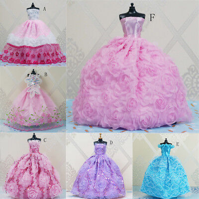 Handmade Princess Wedding Party Dress Clothes Gown For Dolls AD