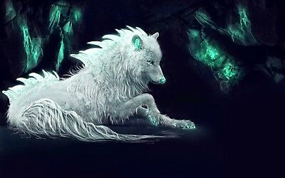 White Artic Wolf - Digital Animal Wild Nature Art Large Poster / Canvas Picture