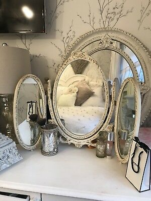Vintage Louis French Triple Dressing Table Mirror Shabby Chic