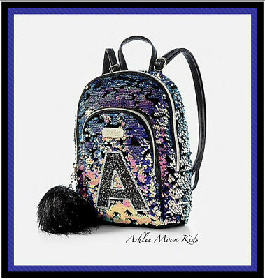 NWT JUSTICE Girls Flip Sequin Initial MINI Backpack~Letter A
