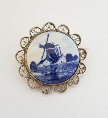 Vintage Round Delft Filigree Sterling Silver Pin Brooch ** Must See**