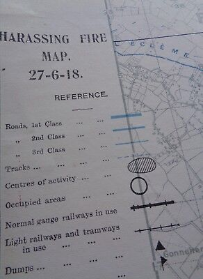 """WW1 (1918) SPECIAL """"HARASSING FIRE MAP"""" for VIELLE CHAPELLE (East of BETHUNE)"""