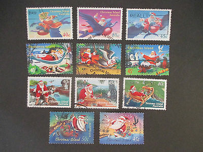 1-- Christmas  Island--Assortment   Christmas  Issues  -Great  Lot  11  Stamps