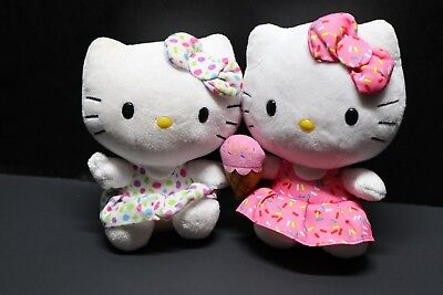 Two Hello Kitty Stuffed Animals White Polka Dots And Pink Ice Cream Cone Plush