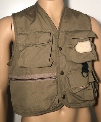 Eddie Bauer Fishing Vest Outdoor Outfitter 5 Pockets Hike Small Wool Patch Creel