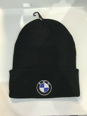 BMW Black Hat Embroidered Logo Winter Warm Knit Baseball Cap Beanie Motorsport