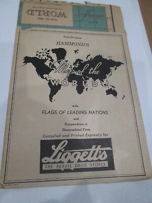 Liggett's the Rexall Drug Store -- Hammond's Map of the World with Nations Flags