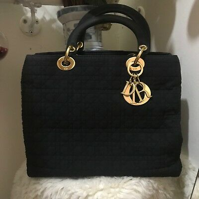 1b592bf46 Vintage Christian Dior Lady Dior Bag In Black Cannage Canvas with 2  Compartments