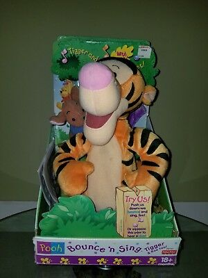 1999 Disney Winnie the Pooh Bouncing Tigger and Roo Plush Toy NOS IN BOX