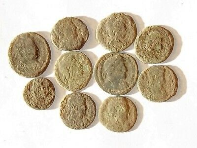 10 ANCIENT ROMAN COINS AE3 - Uncleaned and As Found! - Unique Lot 34415