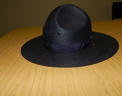 Stratton StateTrooper Hat And Holder Blue Self Forming Made In USA Size 6 - 7/8
