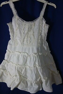 1950's Little Girl's White Slip w/Ruffled Skirt-Honeysuckle- S- VG- DARLING-SALE