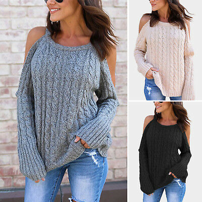 Womens Cold Shoulder Knitted Sweater Winter Warm Long Sleeve Top Jumper Pullover