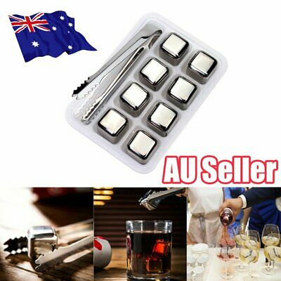 8x Stainless Steel Whiskey Stone Ice Cubes Glacier Chiller Drink Reuseble ON