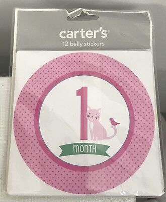 Carter's 12 Belly Stickers Months 1 - 12  Baby's First Year Baby Girl Peel Off