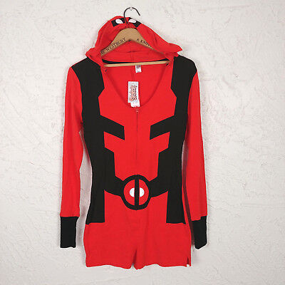 ee4cad8bdb9 Spensers Womens Adult Size S Marvel Deadpool Romper Pajama Hoodie Shorts  Costume