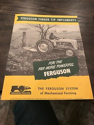 Harry Ferguson Tractor FINGER TIP IMPLEMENTS sales brochure 1952 POSTER