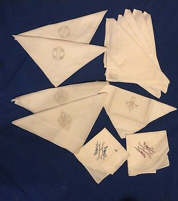 12 VINTAGE Variety WHITE LINEN NAPKINS MONOGRAMMED With An H Portugal And China