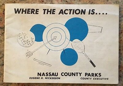 Vintage Where The Action Is....nassau County Parks Pamphlet Summer 1967 14 Pages